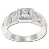 Sterling Silver Square Cut CZ  Cubic Zirconia Ring w/ side cut outs