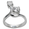 Sterling Silver Double CZ Cubic Zirconia In Swirl Setting Ring