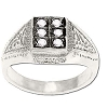 Sterling Silver Men's 6 CZ Cubic Zirconia Block Set Ring