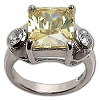 Sterling Silver Emerald Yellow CZ Cubic Zirconia Ring