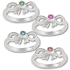 Sterling Silver Color CZ Cubic Zirconia Bow Rings