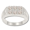 Sterling Silver Men's 6 CZ Cubic Zirconia Ridged Side Ring