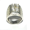 Sterling Silver Men 4 CZ Cubic Zirconia Pinky Ring