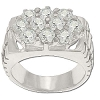 Sterling Silver Men's Style 10 CZ Cubic Zirconia Hex Ring