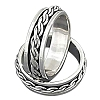 Sterling Silver Cable Chain Spinner Band Ring