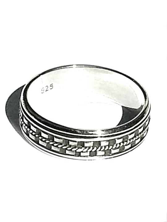 sterling silver bali dash edge mens spinner ring. Black Bedroom Furniture Sets. Home Design Ideas