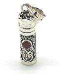 Sterling Silver Cylinder Prayer Box Pendant with Garnet Gemstone
