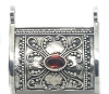 Sterling Silver Hand Made Prayer Cylinder Box Pendant with Garnet