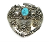 Sterling Silver Hand-Made Heart Shape Prayer Box Turquoise