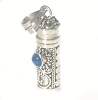 Sterling Silver Cylinder Prayer Box Pendant with Blue Lapis