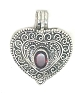 Sterling Silver Handmade Prayer Heart shape Pendant with Garnet