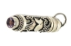 Sterling Silver Cylinder Prayer Box With Amethyst with Balinese Design and Crescent Moons