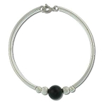 Sterling Silver Hand Made Bracelet with genuine black Onyx