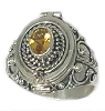 925 Sterling Silver Poison Ring with Oval shape Citrine Gemstone