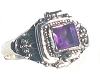 925 Sterling Silver Poison Ring with square shape Amethyst Gemstone