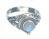 925 Sterling Silver Poison Ring with round Rainbow Moonstone Gemstone