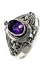 925 Sterling Silver Poison Ring with 5x7 mm  Amethyst Gemstone