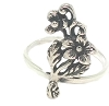 925 Sterling Silver Band Ring with extended flower - can be used as a midi ring