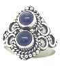 925 Sterling Silver Balinese  Ring with 2 Dark Purple Amethyst Gemstones