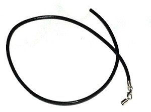 Black Leather Hide  17.4 inches Necklace cord  long 3mm Thick