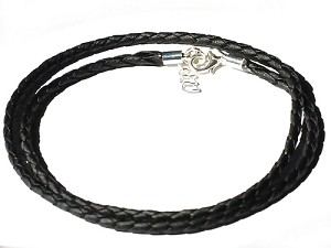 Black Braided Faux Leather 24 Inch 3m Necklace with extender