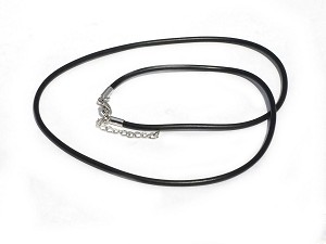 New 2mm 18.5 Black Rubber Necklace with 1.5 Inch Extender