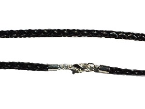 Black Braided  Leather 20 Inch 3 mm Necklace with Lobster Claw clasp