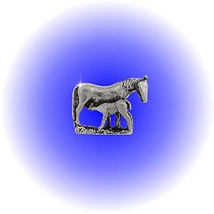 Pewter Filly Nursing Foal Figurine - Lead Free