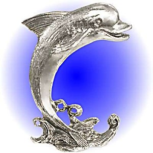 Large Wave Dolphin Pewter Figurine - Lead Free