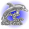 Dolphin Riding Wave Pewter Figurine - Lead Free