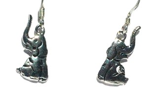 Sterling Silver Sitting Elephant Earrings