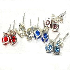 Sterling Silver 60 Pairs Cube Colorful CZ Stud Earrings on Display