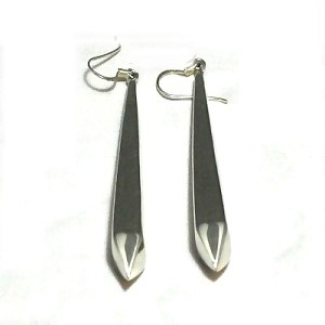 Sterling Silver  Large Smooth Puffed Obelisk Dangle Earrings