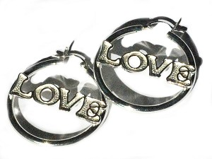 Sterling Silver LOVE Hoop Dangles Earring