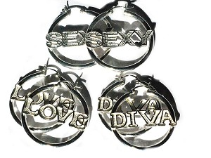 3 Pairs of Sterling SIlver Talking Earring Hoops - LOVE DIVA and Sexy