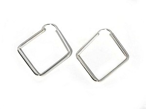 Sterling Silver Diamond  Shaped Rhombus Hoop Earrings