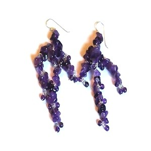 Sterling Silver Long Amethyst Dangle Earrings
