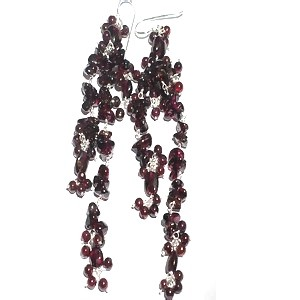 Sterling Silver Red Garnet Long Dangle Earrings