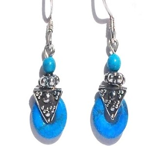 Sterling Silver Bali Hand-made Turquoise Donut Dangle Earrings