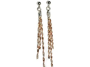3 Twisted Rose Gold Overlay and Sterling Silver Strands Earrings