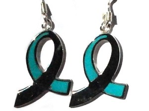 Sterling Silver Remembrance Awareness Ribbon Enamel Dangle Earrings