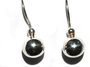Pair of Sterling Silver 925 Puff Ball on Ear Hook Dangle Earring