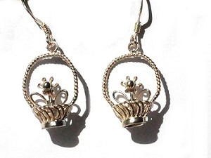 Sterling Silver Flower & Basket Dangle Earrings