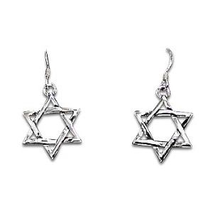 Sterling Silver 6 Point Star of David Dangle Earrings