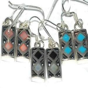 Sterling Silver Genuine Shell Inlay Lozenge Box Dangles Earrings