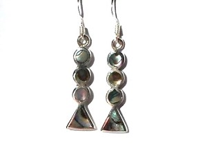 Sterling Silver Stacked Circle and Triangle Genuine Stone Earrings