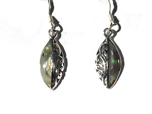 Sterling Silver Genuine Shell Inlay Halved Ellipse Earrings
