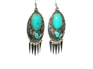 Sterling Silver Exotic Genuine Stone Dangle Earring