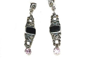 Sterling Silver Black Onyx and  Cubic Zirconia Dangle Earrings