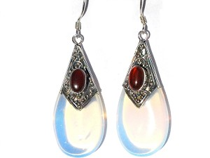 Sterling Silver Simulated  MoonStone and Carnelian TearDrop Earrings